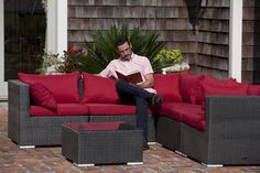 The Sino Wicker Sofa Set includes five all-weather wicker seats and a glass-top table.Also included are thick outdoor cushions for added comfort. The attractive mocha finish is the perfect accent for any deck or patio. The modular design makes th. Outdoor Sofa Sets, Outdoor Wicker Furniture, Wicker Sofa, Outdoor Cushions, Outdoor Seating, Modern Furniture, Modular Design, Colorful Interiors, Mocha
