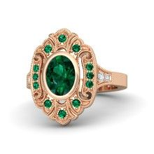 Oval Emerald 14K Rose Gold Ring with Emerald & Diamond