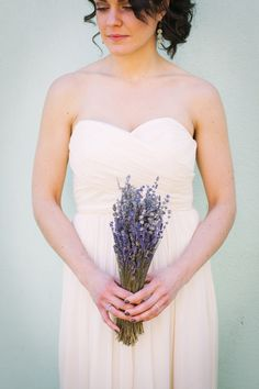 Lavender Bouquet | Read more about how this couple kept most everything local and recycled. On SMP: http://www.StyleMePretty.com/new-york-weddings/hudson-valley/2014/02/03/hudson-valley-wedding-at-the-red-dot/ Photography: Cynthia Chung
