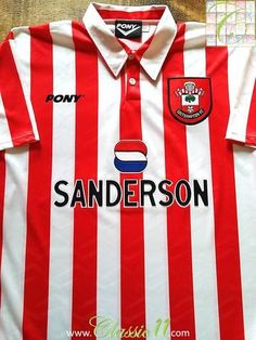 acdba02a0b3 Official Pony Southampton home football shirt from the 1995/96 season. Southampton  Football,