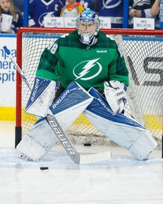 TAMPA, FL - MARCH 16: Goalie Andrei Vasilevskiy #88 of the Tampa Bay Lightning wears a green St Patrick's Day warmup jersey as he gets ready to play against the Toronto Maple Leafs at Amalie Arena on March 16, 2017 in Tampa, Florida. (Photo by Scott Audette/NHLI via Getty Images)