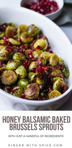 Honey Balsamic Baked Brussels Sprouts sprinkled with bacon and pomegranates for the ultimate and perfectly balanced side dish. Best Side Dishes, Healthy Side Dishes, Vegetable Side Dishes, Side Dish Recipes, Dishes Recipes, Bacon Recipes, Vegetable Recipes, Real Food Recipes, Recipes