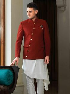 Look stylish in this Silk fabric White coloured kurta and Terry rayon Orange coloured koti crafted with fancy button. Available with Silk fabric White coloured bottom. Wedding Guest Men, Wedding Suits, Dress Wedding, Wedding Attire, Indian Groom Wear, Indian Wear, Trendy Dresses, Nice Dresses, Modi Jacket