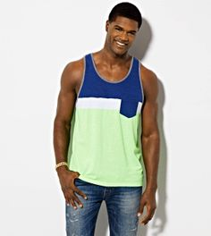 Firefly AE Colorblock Pocket Tank #mensfashion #americaneagleoutfitters