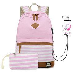 f5fab66231de New misognare College School Bookbag Canvas USB Backpack Casual Travel  Daypack Teen Girls Women (Pink) online shopping. Allfashiondress