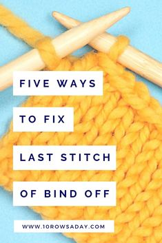 Five Ways to Neatly Bind Off the Last Stitch - stricken - Vogue Knitting, Bind Off Knitting, Knitting Help, Easy Knitting, Knitting For Beginners, Loom Knitting, Knitting Stitches, Knitting Patterns Free, Creative Knitting