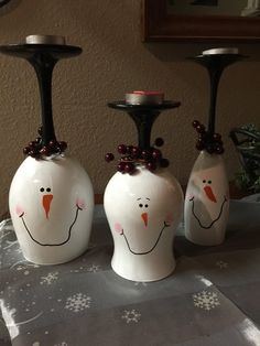Christmas wine glass candle holders Christmas by DebDebsCrafts
