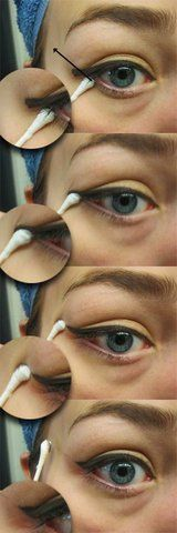 easy cat eye, I never thought of doing it this way. Isn't such a good idea to pull the skin thought. especially such delicate skin around the eyes.