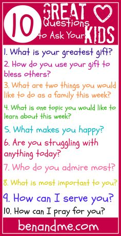 10 Great Questions to Ask Your Kids #heartparenting #homeschool