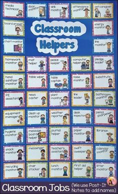 Classroom Job chart for classroom helpers Kindergarten Job Chart, Preschool Job Chart, Preschool Jobs, Classroom Job Chart, Classroom Helpers, Classroom Behavior, Classroom Rules, 2nd Grade Classroom, Classroom Activities