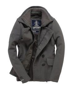 Superdry Classic Peacoat Pea Coat in Battleship Grey Gray