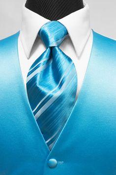 Cardi Premiere Solid Satin Turquoise Tuxedo Vest