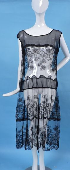 ANTIQUE FLAPPER 1920'S SILK CHIFFON AND SILK CHANTILLY LACE DRESS | eBay