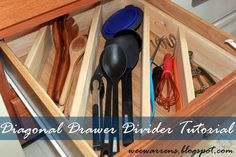 A kitchen drawer has more space than you think, especially if you divide it up diagonally. This way, you can fit in those awkwardly large cooking utensils neatly.  See more at Wee Warrens»