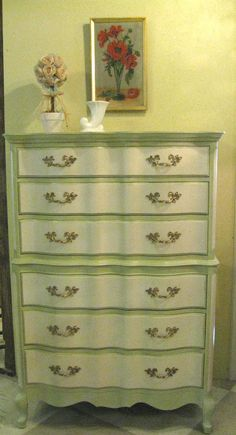 Tall Chest painted with Chalk Paint® Decorative Paint by Annie Sloan in Old Ochre and Versailles