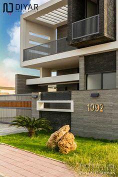Duplex House Design, House Front Design, Modern House Design, Sims House Plans, Modern House Plans, House Elevation, Front Elevation, Modern Exterior, Exterior Design