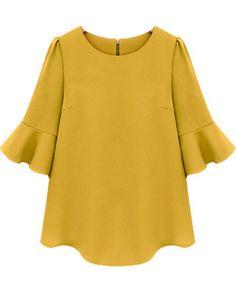 Buy Yellow Ruffle Half Sleeve Loose Chiffon Blouse from abaday.com, FREE shipping Worldwide - Fashion Clothing, Latest Street Fashion At Abaday.com