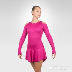 """Figure ice skating long sleeve dress decorated """"aurora borealis"""" crystals, neck closure. 90%Polyester, 10% Spandex. Colors: Black, Fuchsia, Red, Lilac, Mint, Turquoise. Sizes: Child's: Small Child, Intermediate Child, Medium Child, Large Child      Adult's: XSmall Adult, Small Adult, Medium Adult, Large Adult Gymnastics Outfits, Gymnastics Leotards, Latin Ballroom Dresses, Ice Skating Dresses, Figure Skating, New Product, Skate, Cold Shoulder Dress, Aurora Borealis"""