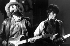 """Dylan and Robbie Robertson at """"The Last Waltz"""" concert."""