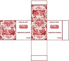 Boîte Toile de Jouy rouge création Pascale Appiani
