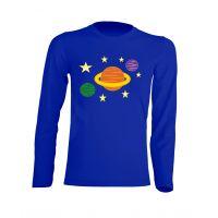 Camiseta Manga Larga Planetas Azul Royal