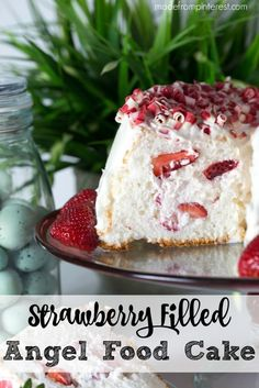 Light and fluffy, this Angel Food Cake is filled with strawberries and whipped cream. When you slice into it, imagine beautiful strawberries shining through. People will wonder how you did it! This dessert is big on easy but big on impressive.