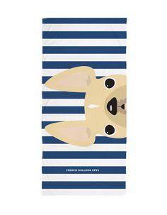 Cream / Navy Striped French Bulldog Beach Towel - French Bulldog Love - 1