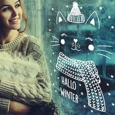 Draw this cool winter cat on your window with the help of the template from Kimago. Illustration Noel, Winter Illustration, Christmas Art, Winter Christmas, Christmas Decorations, Christmas Drawing, Decoration Creche, Winter Drawings, Winter Diy