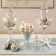 love glass apothecary jars! Just switch out contents with the season or holiday!