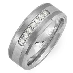 Tungsten Carbide Men's Ladies Unisex Ring Wedding Band 8 MM 0.25 CT 7 Stone Cubic Zirconia CZ Two Tone Brush Matt Finish Beveled Edge Comfort Fit (Available in Sizes 8 to 12) DazzlingRock Collection. $29.79. Get most bang for your buck. 8mm wide. Stamped Tungsten Carbide. Unisex Ring