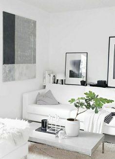 Living Room White Grey Black Scandinavian sofa coffee table books plans Images