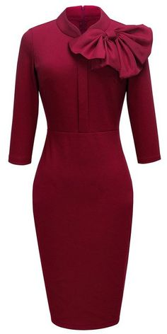 HOMEYEE Women's Vintage Bowknot 3/4 Sleeve Party Dress UKB244 (10 Red)
