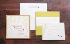 Whimsical Willows, yellow modern Chinese silk letterpress fabric wedding invitation