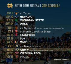Notre Dame football 2016 schedule