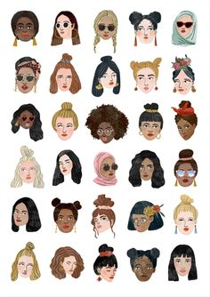 Shop and discover emerging brands from around the world Graphic Design Illustration, Illustration Art, Character Illustration, Fashion Illustration Hair, Body Positivity, Buch Design, Girl Posters, Feminist Art, Aesthetic Art