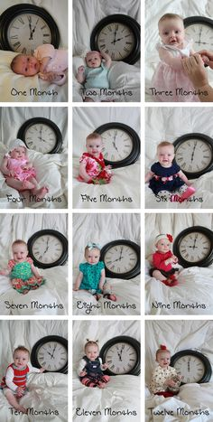 Photograph your baby each month with a clock set to the appropriate hour. It get… – Schwanger Ideen Monthly Baby Photos, Monthly Pictures, Baby Monthly Milestones, Newborn Baby Photos, Baby Poses, Newborn Pictures, Baby Pictures, Pregnancy Pictures, Baby Monat Für Monat