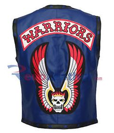 The Warriors Mens Motorcycle Blue Halloween Leather Jacket Vest