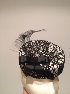 Cream Pillbox with Black Cobweb Fabric. For Sale on my Facebook page. Millinery Darling