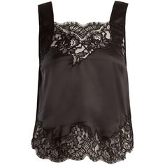 Givenchy Lace-trimmed silk-satin cami top (5.570 RON) ❤ liked on Polyvore featuring tops, black, cami tank, camisole tops, camisole tank, lace trim tank top and drapey tank