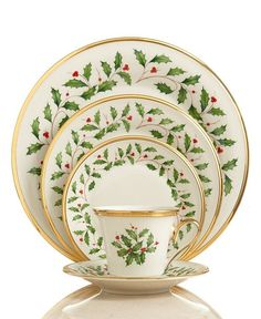 This is my Christmas China. I also have green block optic depression glass that I use with it.