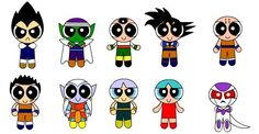 Haha so cute! Dragon ball z characters in power puff girls style