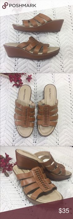 "Hush Puppies Tan Wedge Sandals Size 8.5 Hush Puppies Tan  Wedge Sandals. Comfort with style. Material: leather. Wedge height: 2"". Light signs of wear on heel. Great used condition. Hush Puppies Shoes Sandals"