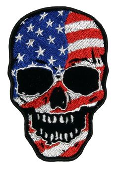 "Amazon.com: [Single Count] Custom and Unique (4.0 X 6.0) ""Patriotic"" Waving American Flag Biker Skull Iron On Embroidered Applique Patch {Red, White, Blue and Black Colors}"