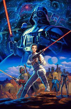 Star Wars by Greg Hildebrandt - Star Wars Canvas - Latest and trending Star Wars Canvas. - Star Wars by Greg Hildebrandt Star Wars Fan Art, Hq Star Wars, Star Wars Comics, Vader Star Wars, Darth Vader, Star Wars Pictures, Star Wars Images, Star Wars Poster, Film Sf