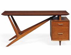 Italian Mahogany Desk, C.1950s Looks like a Dadaist desk