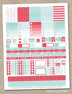 Red and Aqua Printable Planner Stickers PDF Instant Download Weekly Graphics