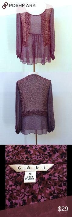 "CAbi floral blouse Sheer lightweight purple tone floral blouse.  100% silk.  Dry clean only.  EUC. Armpit to armpit 19"". Shoulder to hem 25.5. CAbi Tops Blouses"