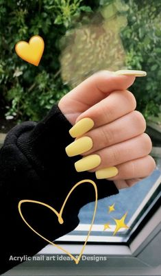 34 trendy summer nail designs that are so perfect . - 34 trendy summer nail designs that are so perfect … # nails - Acrylic Nails Yellow, Yellow Nail Art, Acrylic Nails Coffin Short, Simple Acrylic Nails, Best Acrylic Nails, Acrylic Nail Designs, Simple Nails, Coffin Nails, Teen Nail Designs