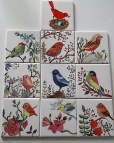 Çini Pottery Painting, Ceramic Painting, Ceramic Art, Tile Murals, Tile Art, China Painting, Mural Painting, Pottery Lessons, Bird Quilt
