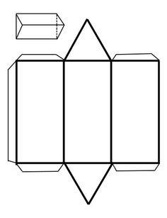 Recortables de figuras geométricas   Prisma triangular Origami Envelope, Origami Box, Prisma Pentagonal, Teaching Geometry, Triangular Prism, Printable Shapes, Cardboard Sculpture, Cardboard Art, Shapes For Kids